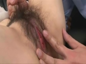 Pretty Busty Japanese MILF's Cunt Creampied
