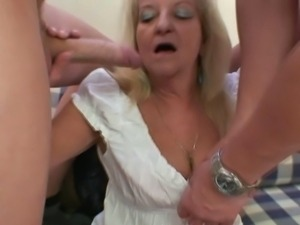 Blonde mature banged by two party boys