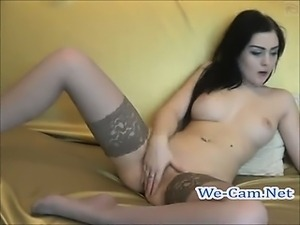Very hot brunette camgirl masturbates slowly on webcam