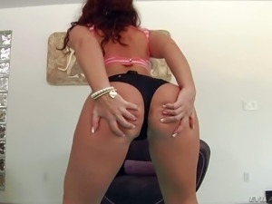 Savannah Fox is one hot bodied redhead that pulls down her black panties and...