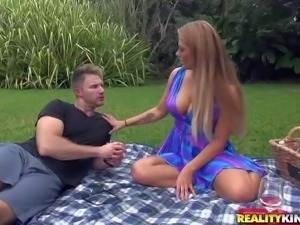 Curvy milf Holly is dangerously sexy in her blue summer dress. her dress cant...