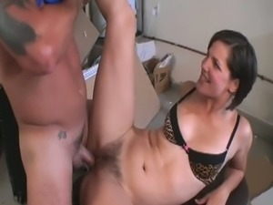 Brunette babe gets her hairy pussy fucked hard