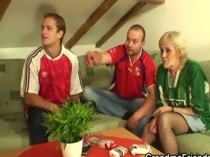 Old bitch has to get fucked by two men to pay off a bet she lost