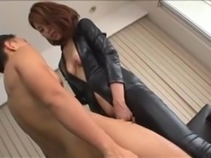 japanese girl in latex has pussy eaten
