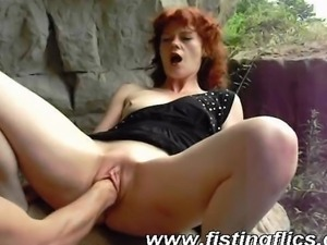 Horny amateur wife is fist fucked by her husband outdoors