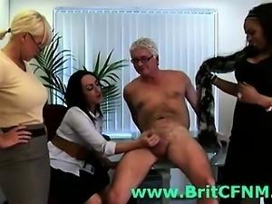 Group of British CFNM girls punishing office perv