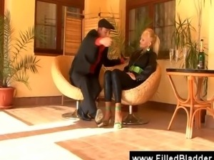 Jealous wife pisses on the blonde mistress of her husband