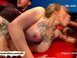 A tattooed blonde babe will get her punani fucked indeed but it won't end...