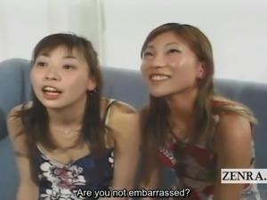 Subtitled CFNM Japan amateurs watch handjob and blowjob