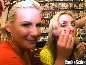 Phoenix Marie and Tanya Tate double date BJ at Sex Shop
