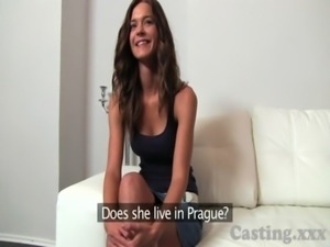 Casting Shy brunette plays hard to get in casting free