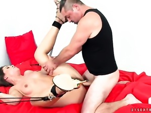 Brunette Savannah Secret takes mans throbbing tool so fucking deep after...