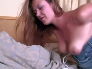 Young brunette slut Elexis Monroe with natural tits and average body in short...