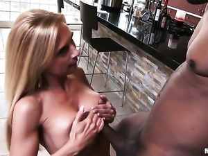 Brooke Tyler with bubbly bottom shows her slutty side in interracial sex action