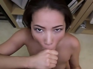 Wonderful-looking porn scene with amazing brunette Asian chick next door...