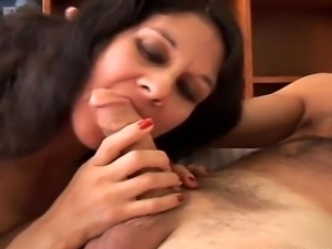 Gorgeous Hispanic MILF rides cock and gives a great blowjob
