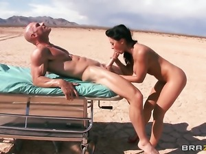 Rachel Starr gets the pleasure from sucking Johnny Sinss meat stick like...