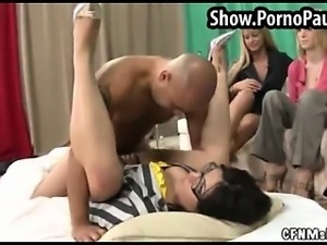 Girls watch a sex show