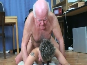 Young secretary rides her old boss's cock