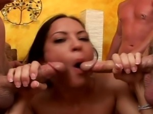 Brunette whore swallows every inch of cock and drinks cum