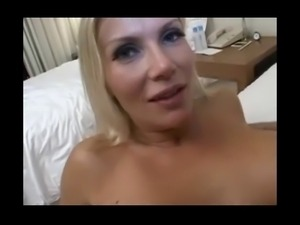Blonde hot MILF Karina get fucked by fat guy
