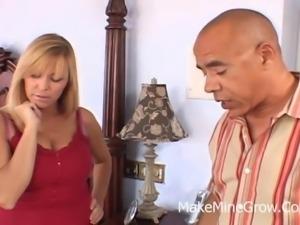 Breathtaking blonde milf sucks on a black wiener