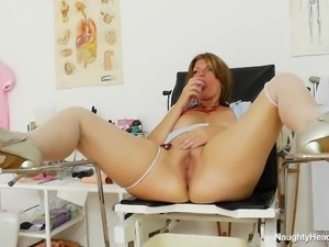 nurse spreads her thighs wide