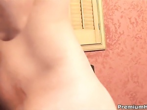 Sophia with huge boobs satisfies her sexual desires