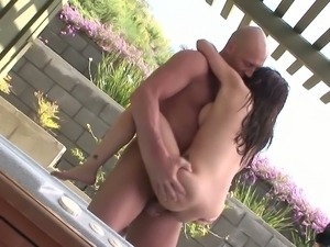 Asian babe owned by a bald guy outdoors in a pool