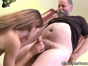 Bearded old man loves to suck on Nina's nipples until she