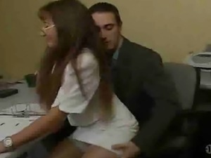 Hot mature secretary fucks her boss. Great cum shot all over her glasses!!!