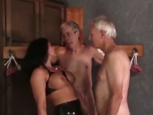 Mistress carly dominates two old guys