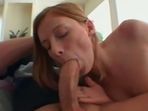 Freckled redhead gets her booty banged hard