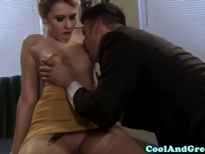 Blonde secretary sucking off her boss to get a raise
