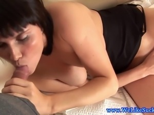 Busty blowjob slut loves big facial and she wants every drop