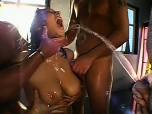 Group pissing on lusty hotty