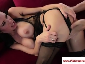 Veronica Avluv rides and sucks cock wild while wearing lingerie