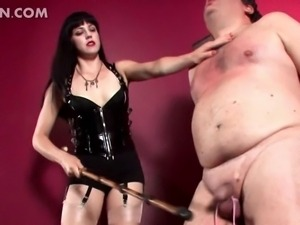 Chubby naked dude gets tied up spanked and dick tortured by hot mistress