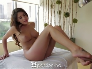 Gorgeous brunette with nice ass gets full body massage