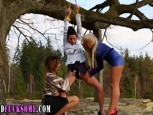 Clothed bound euro lesbo toyed by horny sluts in threesome