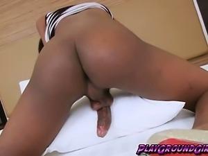 Black Amateur Shemale Does Solo Masturbation