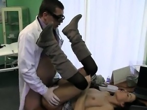 Pint sized brunette gets fucked hard by her doctor