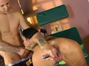 Angelina gags for doctor's huge cock