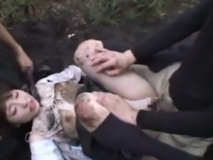 Japanese schoolgirl banged and covered in dirt