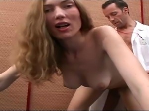 Milf brunette nurse plays with her natural boobs and hairy pussy. Then doctor...