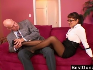 This hot office babe brings the boss in her home and she is being all formal...