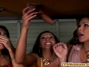CFNm femdom Sienna West in cool foursome getting facialized with her sexy pals
