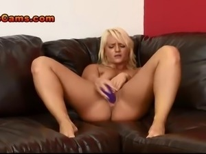 Hot California Blonde With Tattoos Jerks Off A Big Fake Cock With Her...