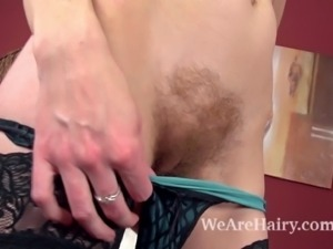 Hairy girl Josselyn is a sexy brunette babe in silky black stockings and sexy...