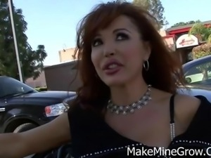 Sexy redhead MILF Vanessa eats some man meat